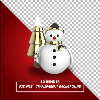 Złoty akcent bałwana 3d renderowany na przezroczystym tle