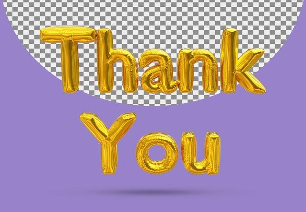 Złoty balon foliowy realistyczne dziękuję 3d na białym tle