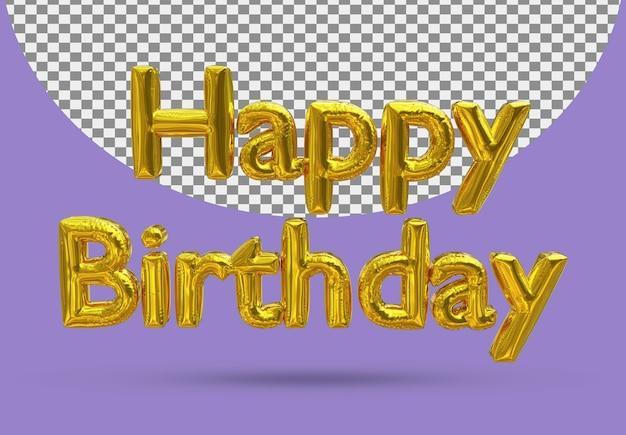 Złoty balon foliowy z realistycznymi życzeniami urodzinowymi 3d na białym tle
