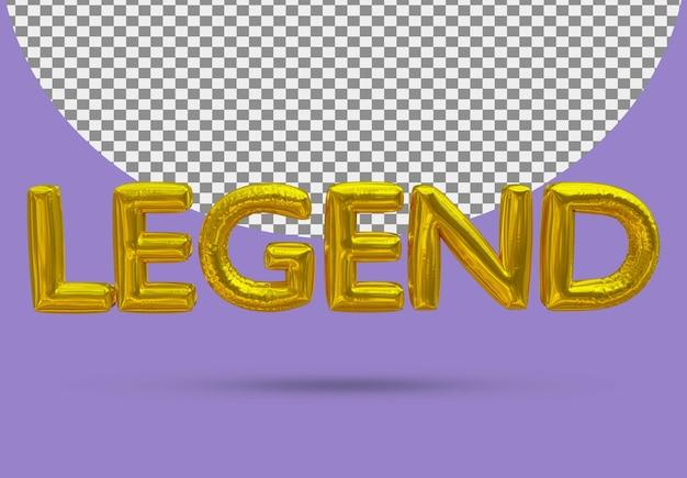 Złoty balon z folii legendy realistycznego 3d na białym tle