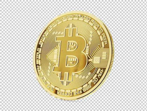 Złoty bitcoin, na białym tle, renderowanie 3d