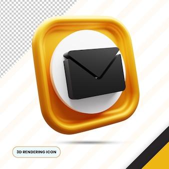 Złoty e-mail i koperta renderowania 3d ikona png