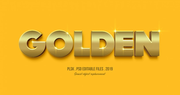 Złoty efekt stylu tekstu 3d