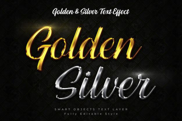 Złoty efekt tekstowy i srebrny efekt tekstowy