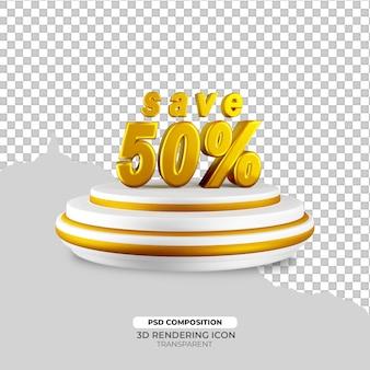 Złoty efekt tekstowy rabatu renderowania 3d