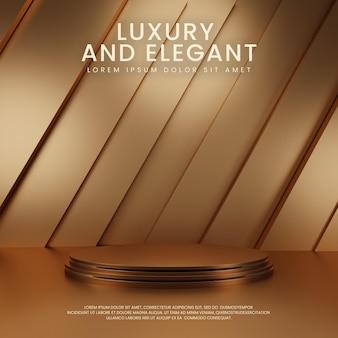Złoty geometryczny luksusowy wyświetlacz na podium