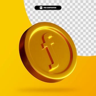 Złoty gulden monety renderowania 3d na białym tle