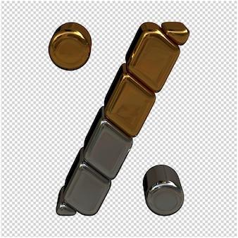 Złoty i srebrny symbol renderowania 3d