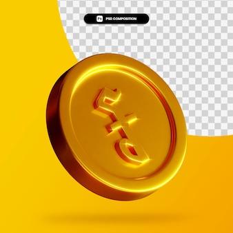 Złoty kambodżański riel moneta renderowania 3d na białym tle