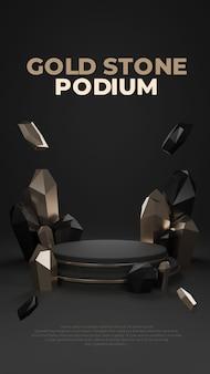 Złoty kamień 3d realistyczny wyświetlacz promocyjny na podium
