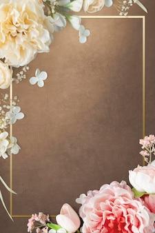 Złoty kwitnący kwiatowy wzór ramki