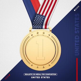Złoty medal flaga stanów zjednoczonych za kompozycję