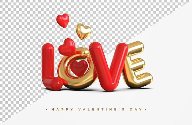 Złoty napis miłość z renderowania 3d symbol serca na białym tle