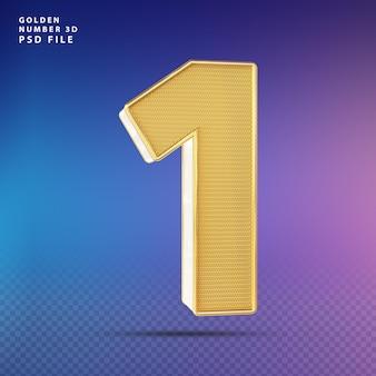 Złoty numer 1 3d render luksus