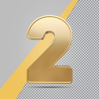 Złoty numer 2 renderowania luksusu 3d