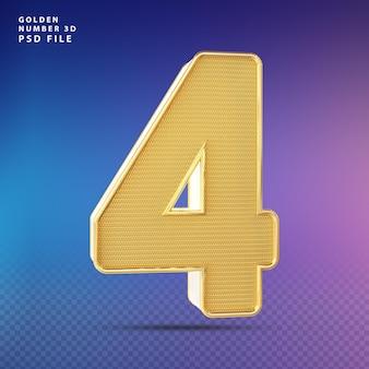 Złoty numer 4 3d render luksus
