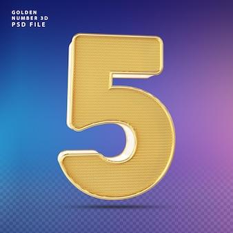 Złoty numer 5 3d render luksus