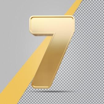 Złoty numer 7 renderowania luksusu 3d