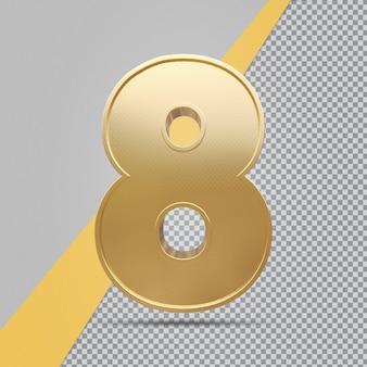 Złoty numer 8 renderowania luksusu 3d