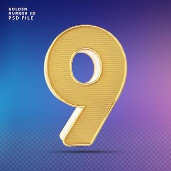 Złoty numer 9 3d render luksus