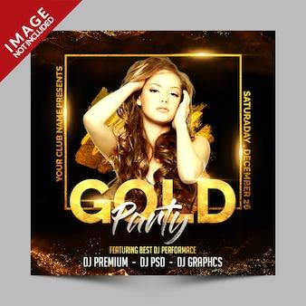 Złoty party kwadrat plakat lub szablon ulotki, luksusowe zaproszenie na imprezę klubową