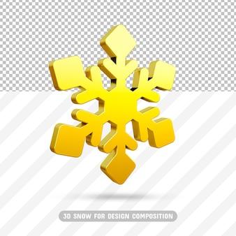 Złoty płatek śniegu 3d w renderowaniu 3d na białym tle