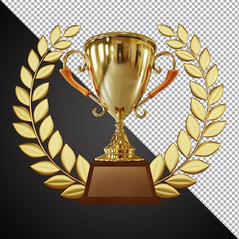 Złoty puchar trofeum puchar skład 3d na białym tle