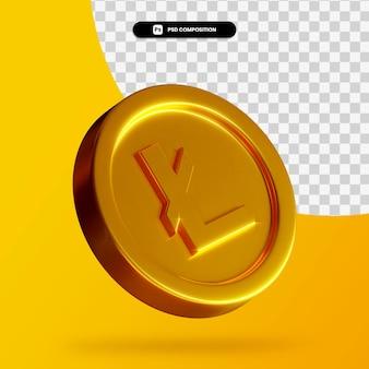 Złoty renderowanie 3d litecoin na białym tle