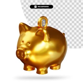Złoty skarbonka z renderowaniem 3d bitcoin na białym tle