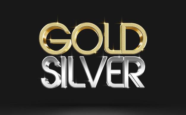 Złoty srebrny szablon makiety efektu stylu tekstu 3d