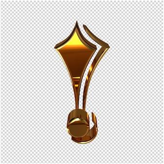 Złoty symbol renderowania 3d