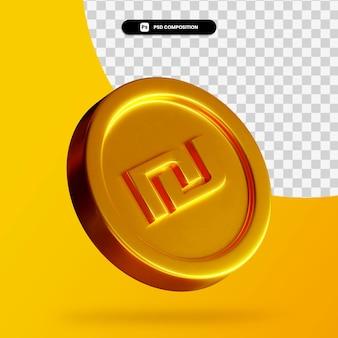 Złoty szekel monety renderowania 3d na białym tle