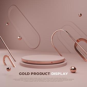 Złoty Wyświetlacz 3d Podium Premium Psd