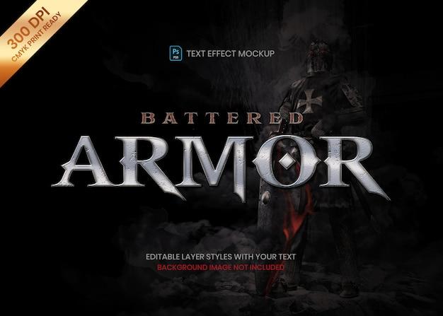 Zmaltretowane metalowe żelazo stalowe logo tekst efekt szablonu