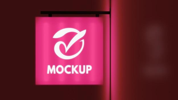 Znak biznes nocny różowy kolor neon