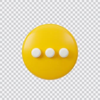 Znak czatu renderowania 3d przycisk interfejsu na białym tle