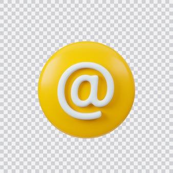 Znak e-mail renderowania 3d przycisk interfejsu na białym tle