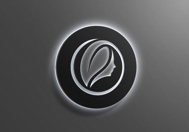 Znak ścienny białe światło neonowe logo makieta