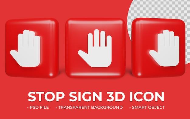Znak stop ikona renderowania 3d na białym tle