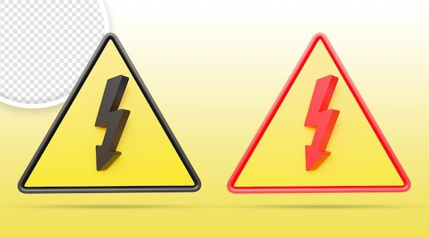Znak wysokiego napięcia niebezpieczeństwo znak ostrzegawczy na białym tle