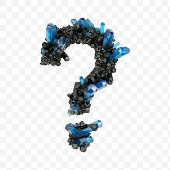 Znak zapytania alfabetu wykonany z czarnych i niebieskich kryształów biżuterii na białym tle pliku pds