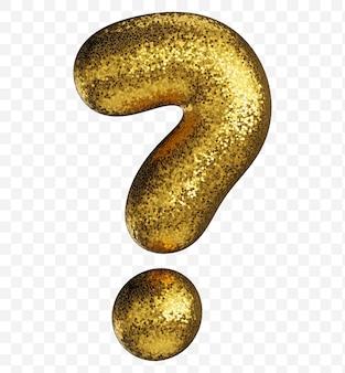 Znak zapytania alfabetu wykonany ze złotego papieru brokatowego na przezroczystym tle