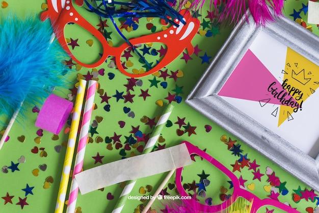 Znakomity Projekt Urodziny Makieta Z Elementów Dekoracyjnych Darmowe Psd
