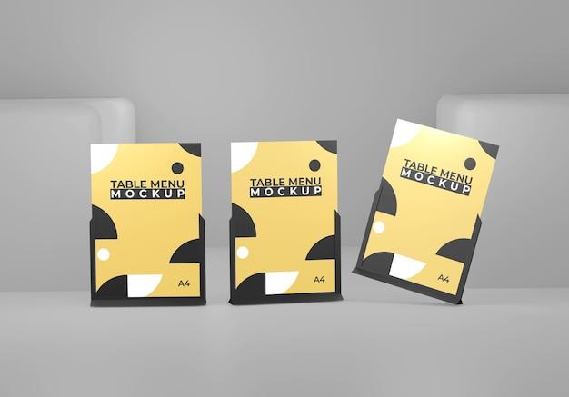 Żółta czarna prosta makieta tabeli menu