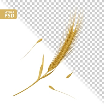 Żółta kompozycja kłosów z układaniem nasion