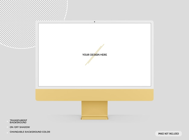 Żółta makieta komputera stacjonarnego