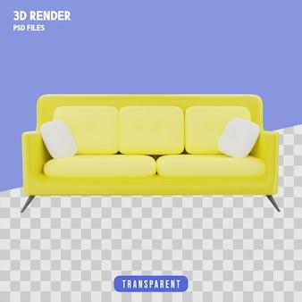 Żółta sofa renderowania 3d izolowana premium