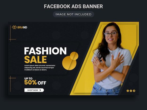 Żółta wyprzedaż mody ze specjalnym rabatem na baner reklamowy na facebooku