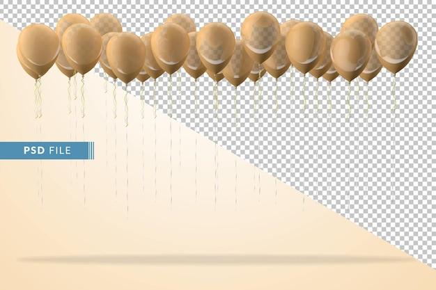 Żółte balony na białym tle