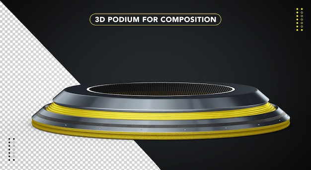 Żółte realistyczne podium w renderowaniu 3d
